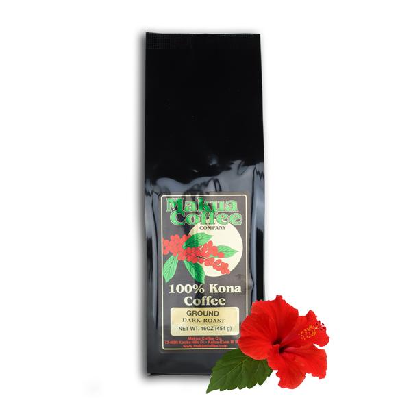 Makua Coffee Company 100% Kona Coffee Dark Roast Ground 16 oz Bag