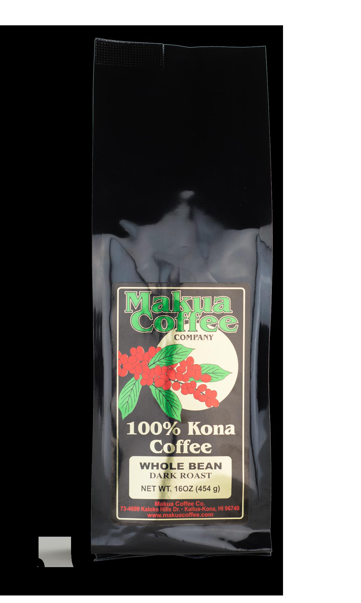 Makua Coffee Company 100% Kona Coffee Dark Roast Whole Bean 16 oz bag