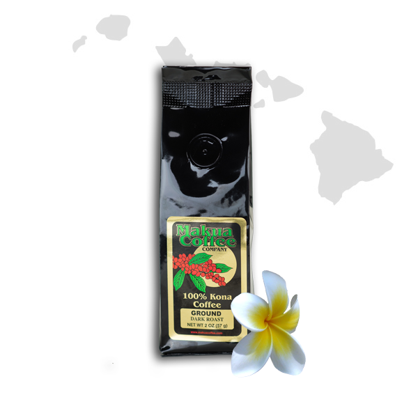 Makua Coffee Company 100% Kona Coffee Dark Roast Ground Coffee oz bag