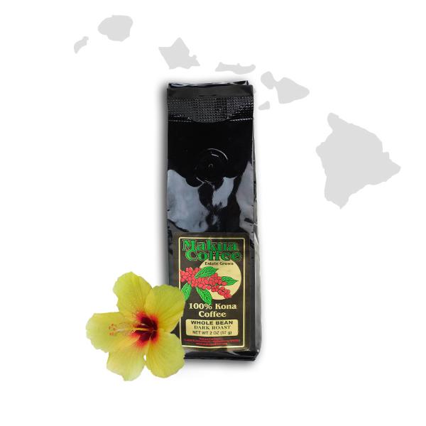 Makua Coffee Company 100% Kona Coffee Dark Roast Whole Bean 2 oz bag