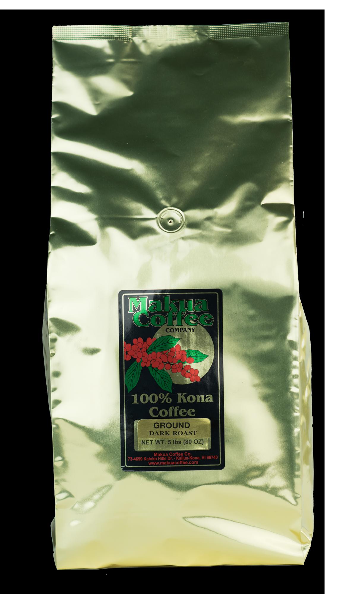 Makua Coffee Company 100% Kona Coffee Dark Roast Ground Coffee 5 lb bag