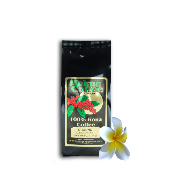 Makua Coffee Company 100% Kona Coffee Dark Roast Ground 8 oz Bag