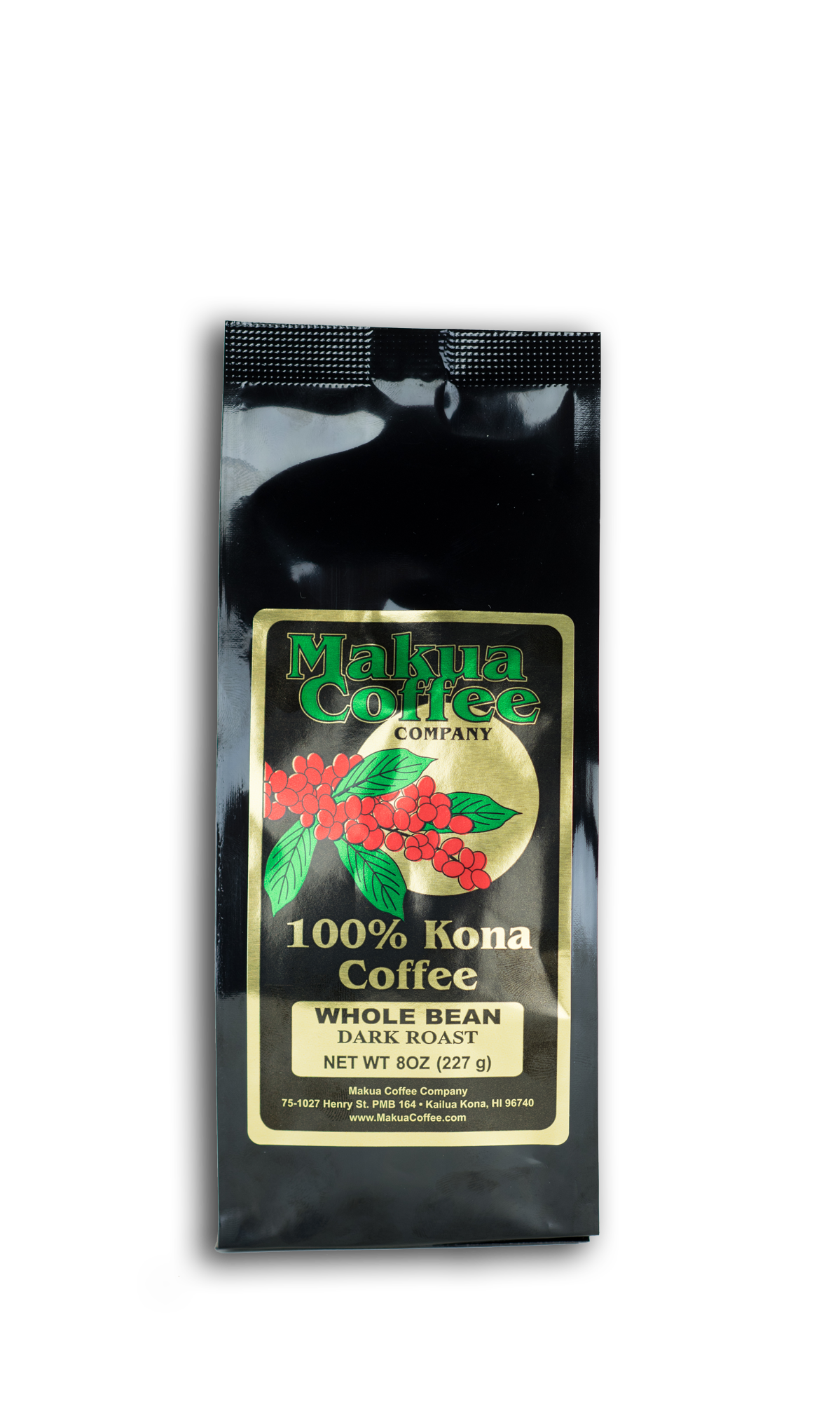 Makua Coffee Company 100% Kona Coffee Dark Roast Whole Bean Coffee 8 oz bag