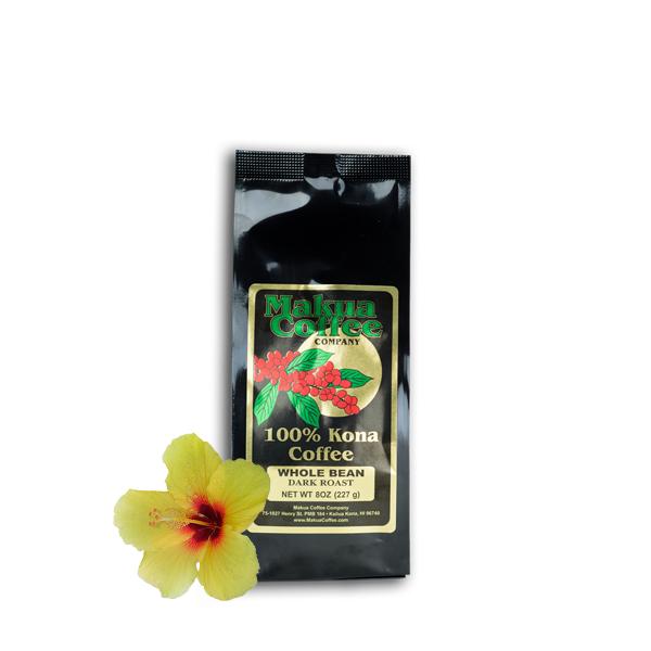 Makua Coffee Company 100% Kona Coffee Dark Roast Whole Bean 8 oz Bag