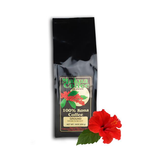 Makua Coffee Company 100% Kona Coffee Medium Roast Ground 16 oz bag