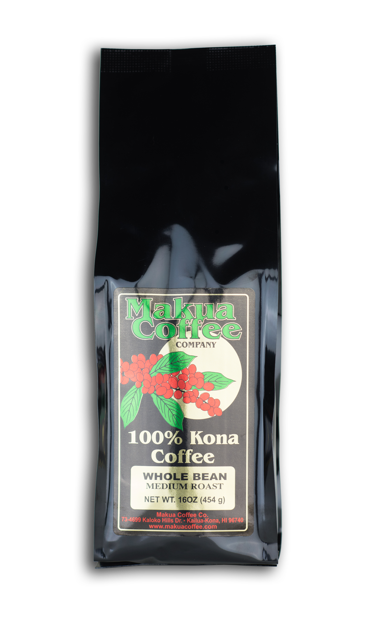 Makua Coffee Company 100% Kona Coffee Medium Roast Whole Bean 16 oz bag