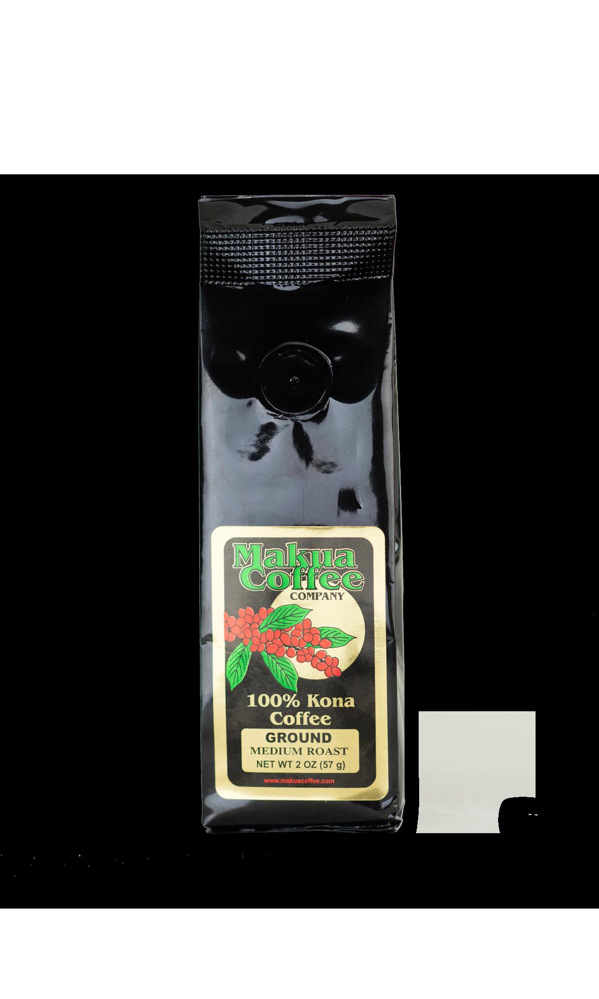 Makua Coffee Company 100% Kona Coffee Medium Roast Ground Coffee 2 oz bag