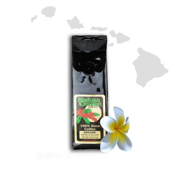 Makua Coffee Company 100% Kona Coffee Dark Roast Ground 2 oz Bag