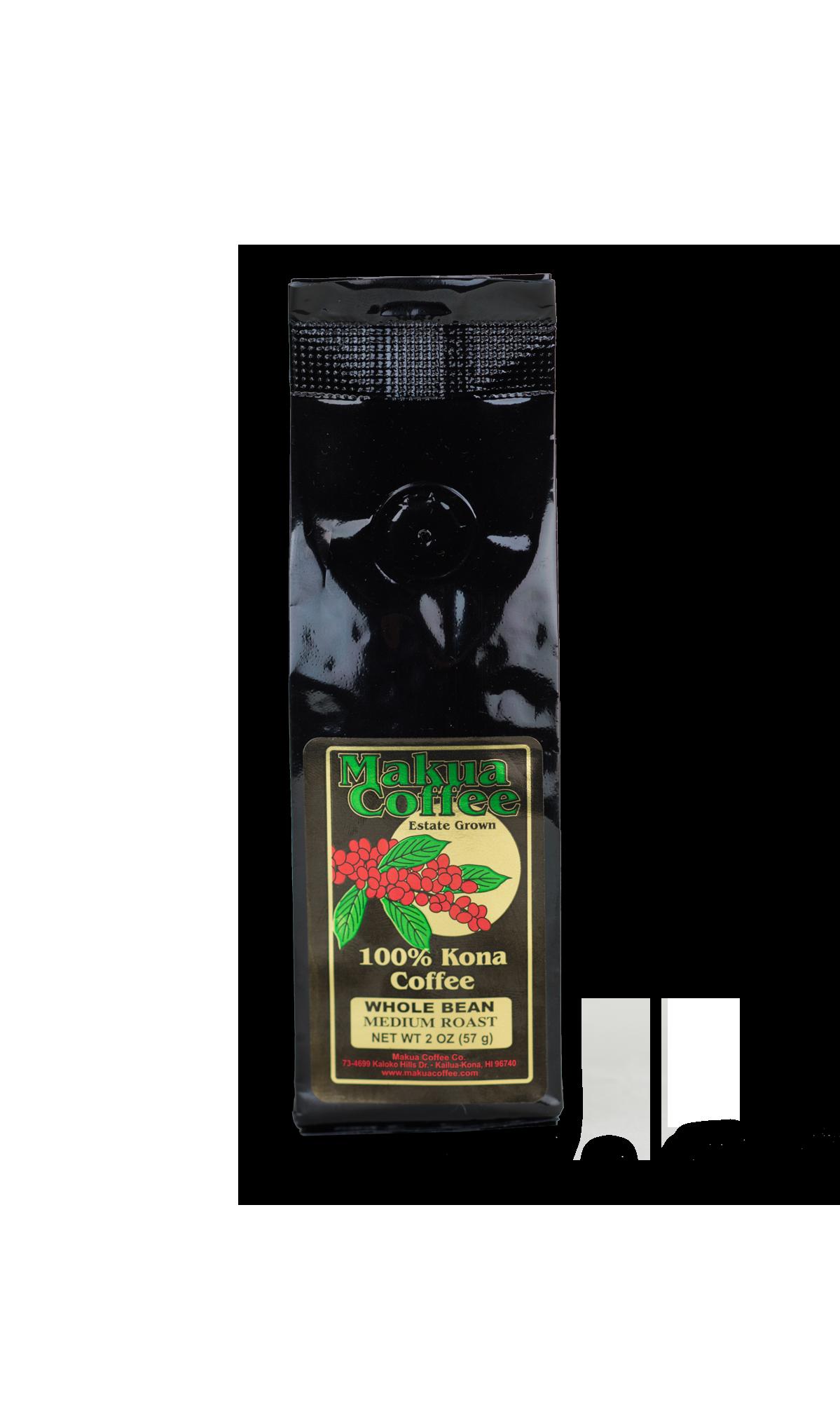 Makua Coffee Company 100% Kona Coffee Medium Roast Coffee Whole Bean 2 oz bag