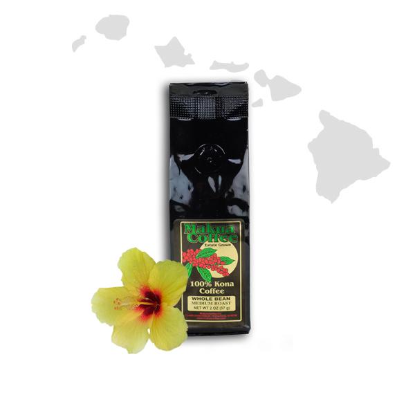Makua Coffee Company 100% Kona Coffee Medium Roast Whole Bean 2 oz Bag