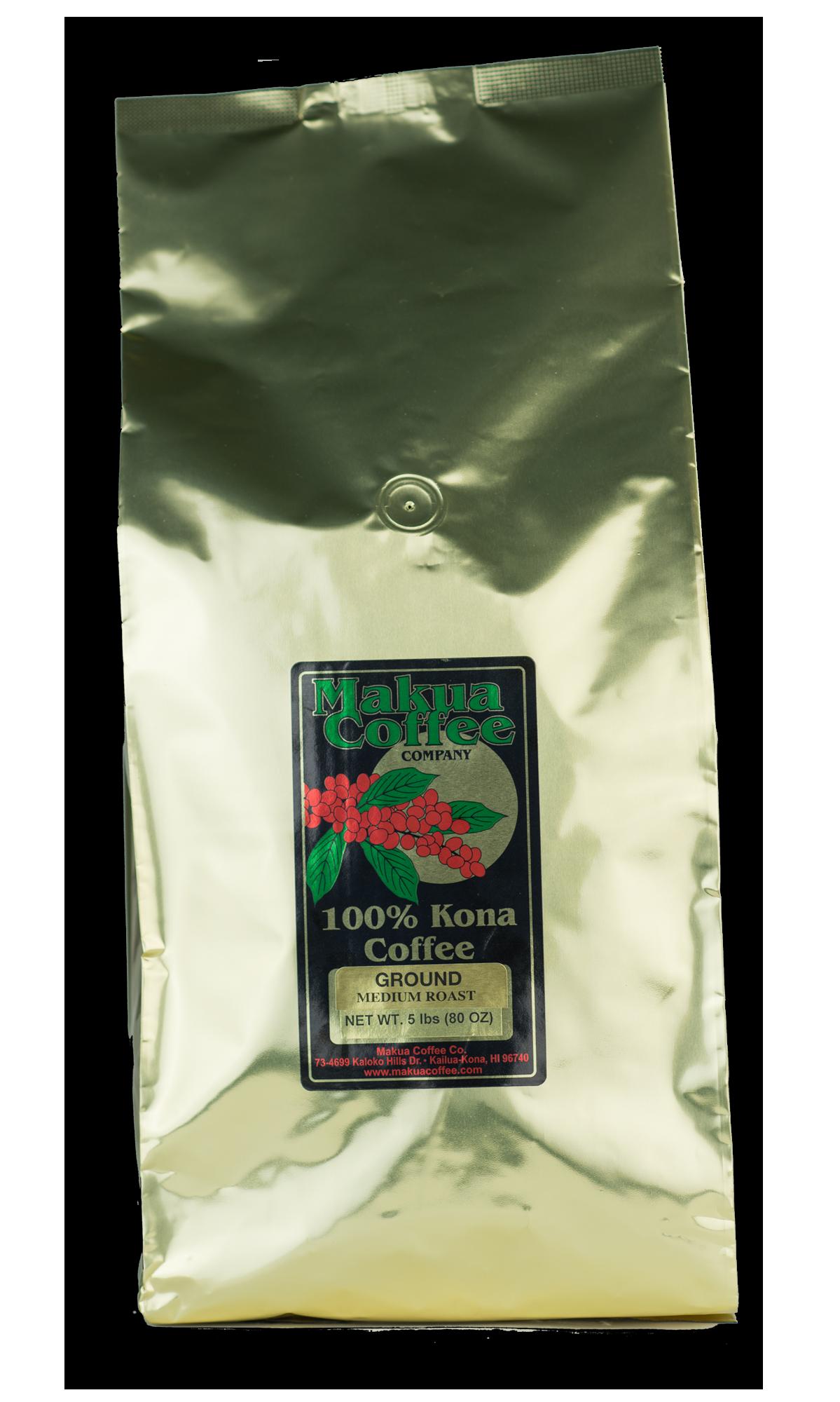 Makua Coffee Company 100% Kona Coffee Medium Roast Ground 5 lb bag