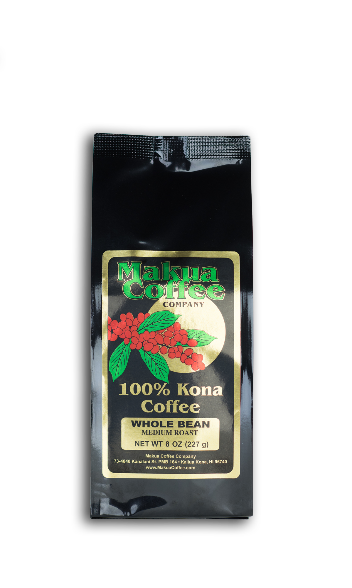 Makua Coffee Company 100% Kona Coffee Medium Roast Whole Bean 8 oz bag