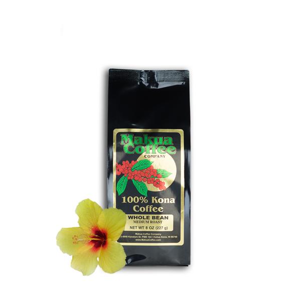 Makua Coffee Company 100% Kona Coffee Medium Roast Whole Bean 8 oz Bag