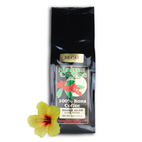 Makua Coffee Company 100% Kona Coffee Decaf Medium-Dark Roast Whole Bean 1 lb bag