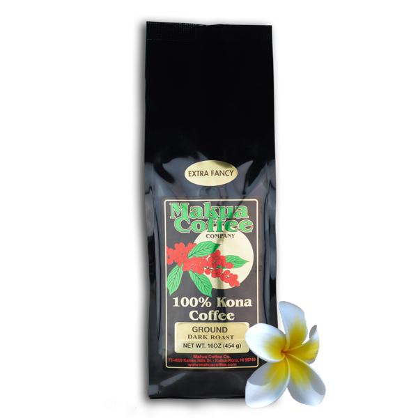 Makua Coffee Company 100% Kona Coffee Extra Fancy Dark Roast Ground Coffee 1 lb bag