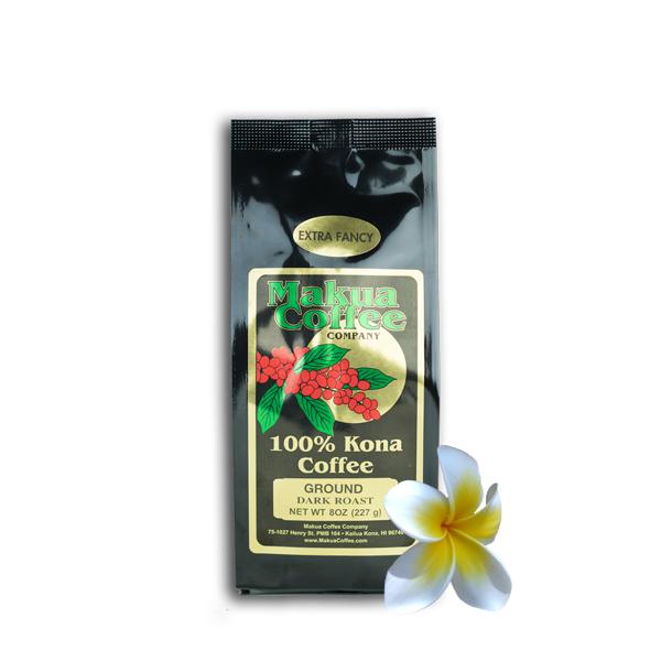 Makua Coffee Company 100% Kona Coffee Extra Fancy Dark Roast Ground Coffee 8 oz bag