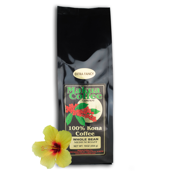 Makua Coffee Company 100% Kona Coffee Extra Fancy Medium Roast Coffee Whole Bean 16 oz bag