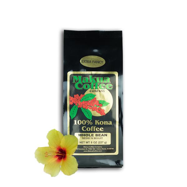 Makua Coffee Company 100% Kona Coffee Extra Fancy Medium Roast Coffee Whole Bean 8 oz Bag