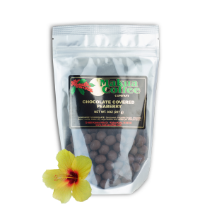 Makua Coffee Company Chocolate Coffee Beans - Semi Sweet covered peaberry beans 8 oz bag