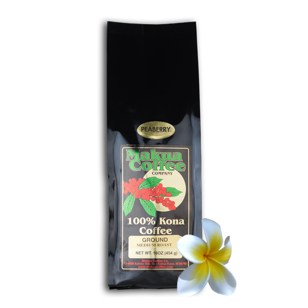 Makua Coffee Company 100% Kona Coffee Peaberry Medium Roast Ground 1 lb bag