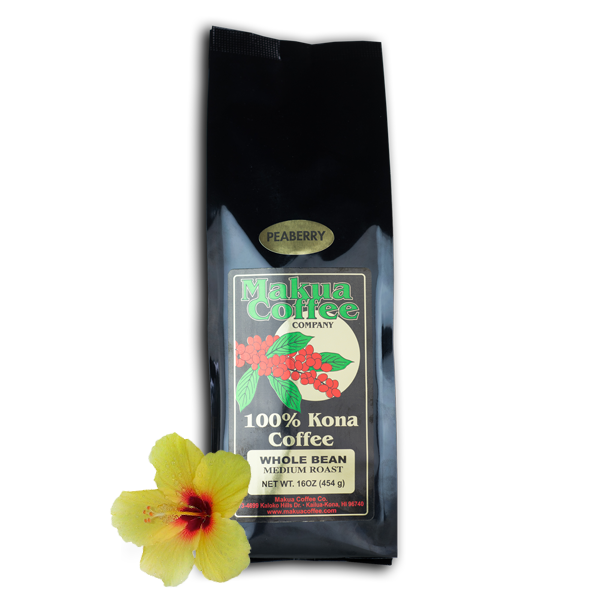 Makua Coffee Company 100% Kona Coffee Peaberry Medium Roast Whole Bean 1 lb bag