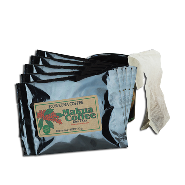 5 Pack 100% Kona Coffee K Cups Alternative Single Serve Brew Bags.