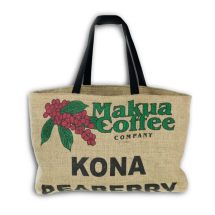 Makua Coffee Company locally made Kona Coffee Peaberry tote bag.