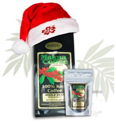 Makua Coffee Company Peaberry Holiday Package featuring 100% Kona Coffee Peaberry and Chocolate Covered Peaberry Beans