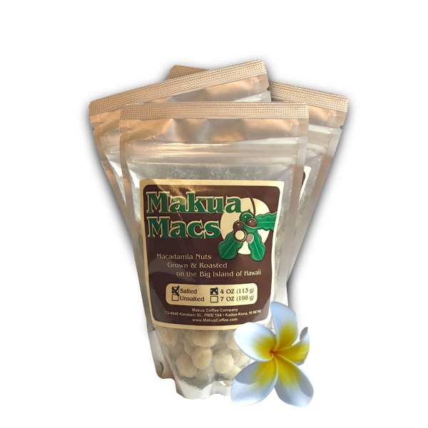 Makua Macs - 3 Pack 4 oz Salted Roasted Macadamia Nuts by Makua Coffee Company