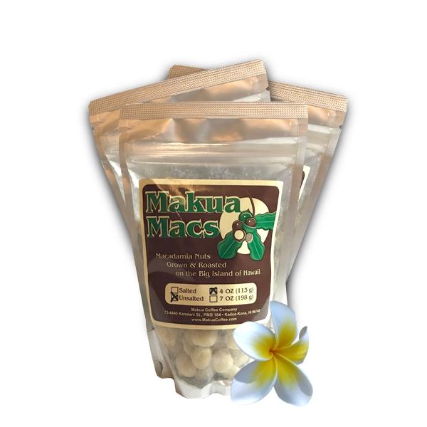 Makua Macs - 3 Pack 4 oz Unsalted Roasted Macadamia Nuts by Makua Coffee Company