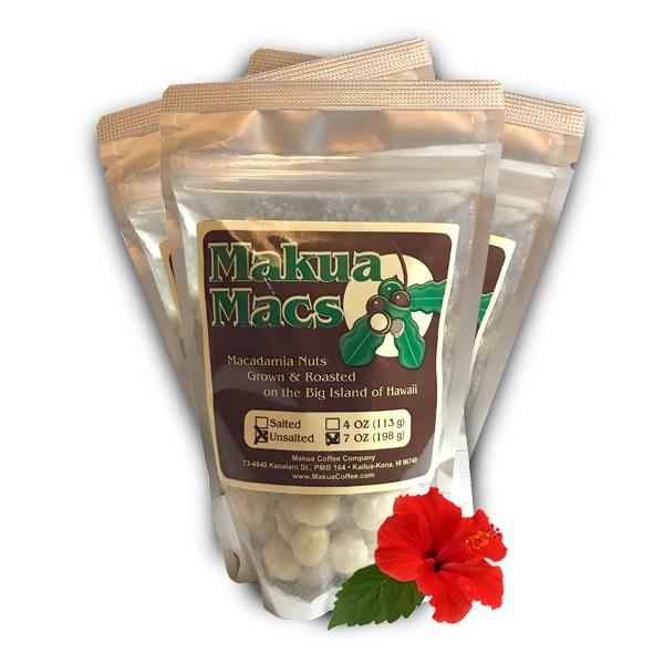 Makua Macs - 3 Pack 7 oz Unsalted Roasted Macadamia Nuts by Makua Coffee Company