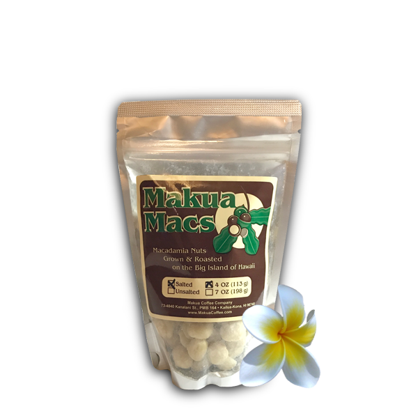 Makua Macs - 4 oz Salted Roasted Macadamia Nuts by Makua Coffee Company