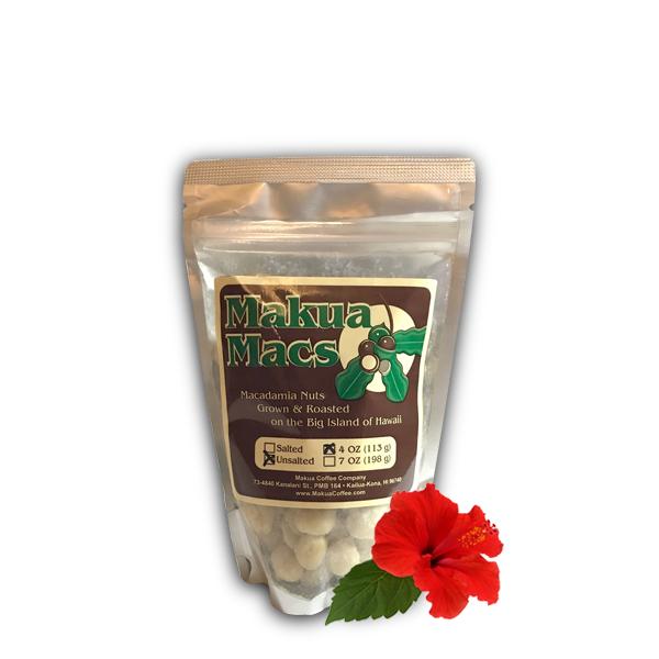 Makua Macs - 4 oz Unsalted Makua Macs Roasted Macadamia Nuts Hawaii